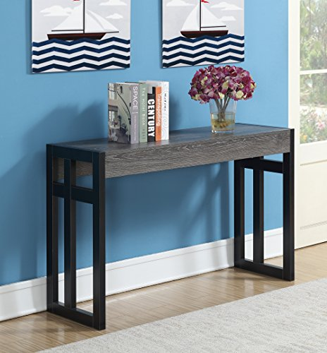 Convenience Concepts 131572WGY Console Table, Weathered Gray/Black Frame (And Grey Sofa Black)
