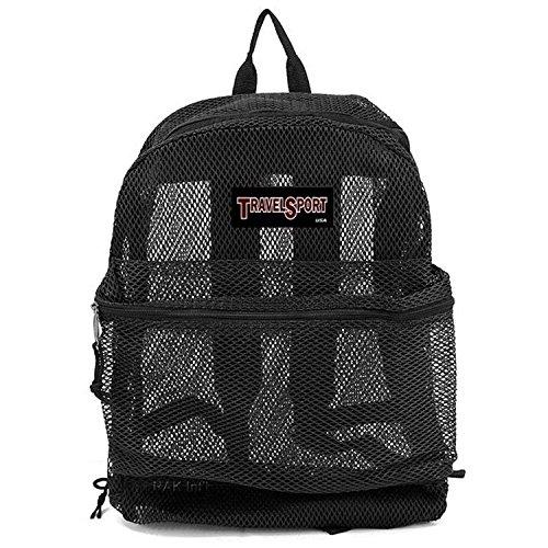 Travel Sport Transparent See Through Mesh Backpack/ School Bag (Black)