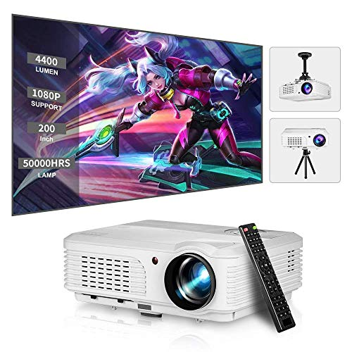Digital HD Indoor Outdoor Movie Gaming TV DVD HDMI Projector 4400 Lumens LED LCD Video Projector Home Theater Party with Dual HDMI Dual USB VGA AV RCA Audio Zoom Keystone Flip Rear Ceiling Projection