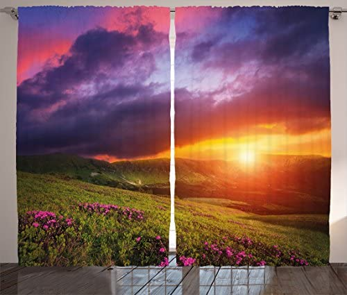 Ambesonne Landscape Curtains, Mountain with Pink Rhododendron Flowers Sunset Sky Over Carpathian Hills Picture, Living Room Bedroom Window Drapes 2 Panel Set, 108 X 63 , Multicolor