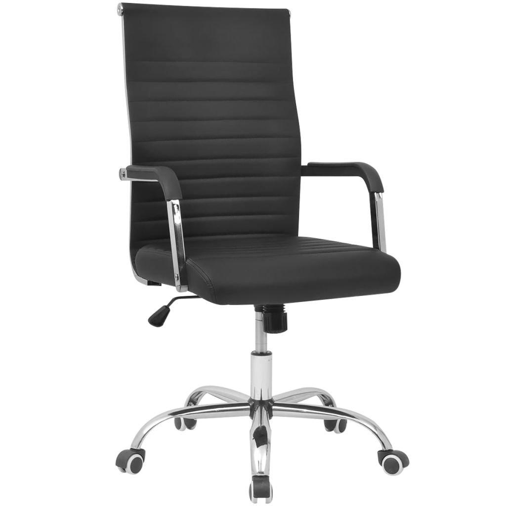 XINGLIEU Chaise de Bureau en Cuir Artificiel 55 x 63cm Hauteur du siège à partir du Sol 43,5-51,5cm Noir pour dortoire, Salon ou Bureau