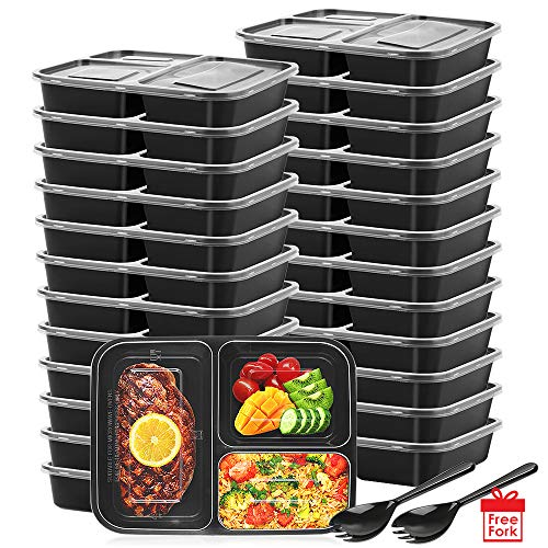 Disposible Meal Prep Containers, Whitgo disposable 3 Compartment Food Containers with Lids, 25 Pack Stackable Plastic Food Storage Containers Lunch Containers Reusable Bento Boxes BPA-Free Food Grade