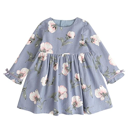 kaifongfu Toddler Dresses,Kids Baby Girl Clothes Long Sleeve Floral Bowknot Party Princess Dresses (Light Blue, 140♣♣7T) ()