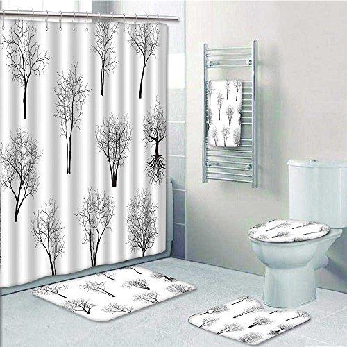 Delicate Designer Bath Polyester 5 Piece Bathroom SetSpooky Movie Themed Branches Trees Art
