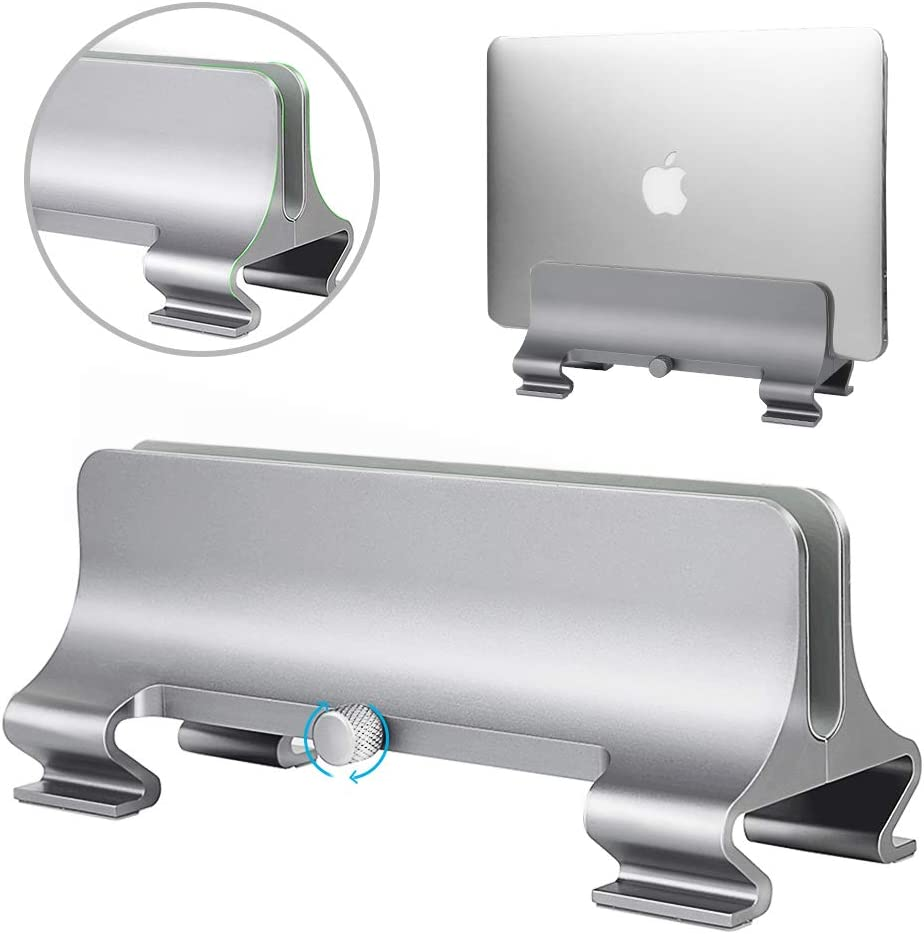 Vertical Laptop Stand [Adjustable Size], ARGIGU Space-Saving Aluminum Desktop Stand with Adjustable Dock (Up to 17.3 inch), Fits All MacBook/Surface/Samsung/HP/Dell/Chromebook(Silver)