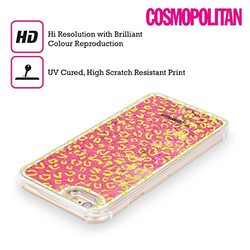 Official Cosmopolitan Green Leopard Animal Skin Patterns Hot Pink Liquid Glitter Case Cover for Apple iPhone 5 / 5s / SE