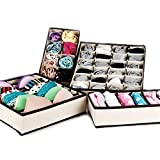 Gearmax for 4 Pcs,Collapsible Non-woven Underwear Closet Organizer Storage Box for Socks, Bra (Beige white)