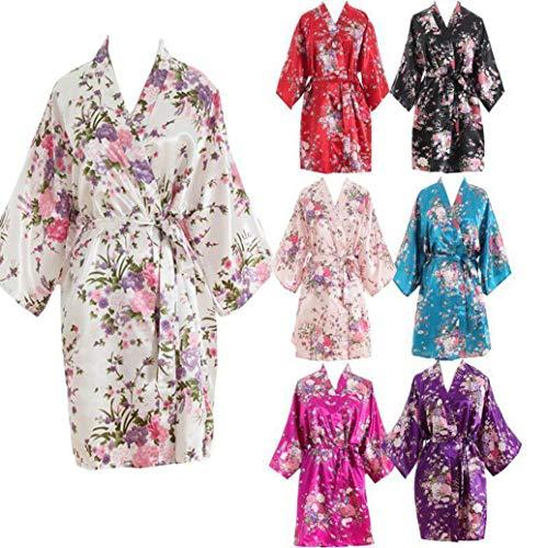 Marie Vtements Kimono Lydianbaby Floral Nuit de Femmes Bleu De Robe Courte wqXHSXC