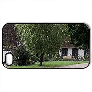Tun - Case Cover for iPhone 4 and 4s (Houses Series, Watercolor style, Black)