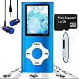 MP3 Player/MP4 Player, Hotechs MP3 Music Player Slim Classic Digital LCD 1.82'' Screen MINI USB Port with FM Radio, Voice record (Blue-Without micro sd card)
