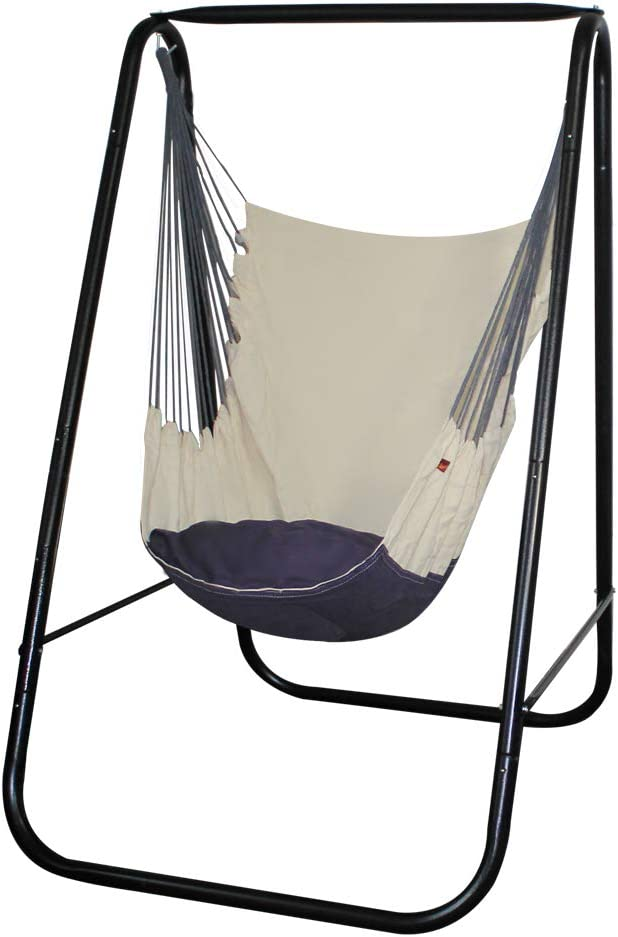 PIRNY Hammock Chair Stand with Hanging Swing-Study MAX Capacity up to 500 LBS-Easy to Assemble Weather-Resistant Sturdy Metal Stand for Porch Patio Garden(Black Stand and White Swing)