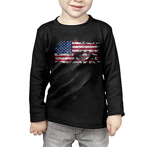 American Flag Wrestling Boys' Girls' Cotton Long Sleeve T-Shirts Top Tee 3 Toddler by Cjoakafa