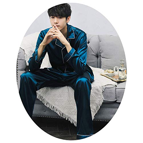 Satin Silk Pajamas Sets Long Sleeved Long Pants Couple Sleepwear Family Homewear Women & Men Lover Home Clothes,Si Cuilvse Men,XXL]()