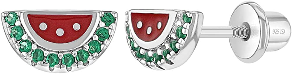 925 Sterling Silver Girl's Green Cubic Zirconia Red Enamel Watermelon Earrings, Fun & Colorful Earrings for Toddlers, Young Girls and Pre Teens- Fruit Stud Earrings for Children & Young Ladies