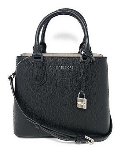 Michael Kors Adele MD Leather Messenger Bag in Black/Cement