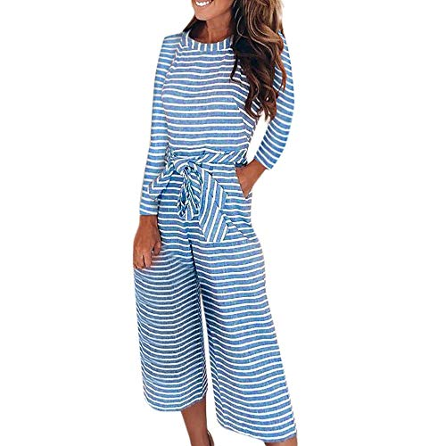 Morecome,Women Fashion Integration Long Sleeve Stripe Jumpsuits Lady Loose Playsuit Long Wide Leg Trousers