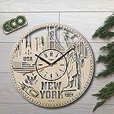 New York Skyline Wall Clock - Battery Operated Non Ticking Clocks - Wood Modern Wall Decor - Kitchen Nursery Office Decorative Clocks - Custom Gift Birthday Christmas Anniversary - Size 12 Inch