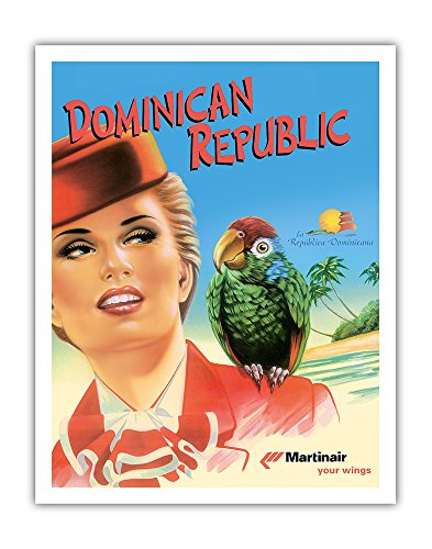 Pacifica Island Art Dominican Republic - Martinair - Vintage Airline Travel Poster c.2000 - Fine Art Print - 11in x 14in ()