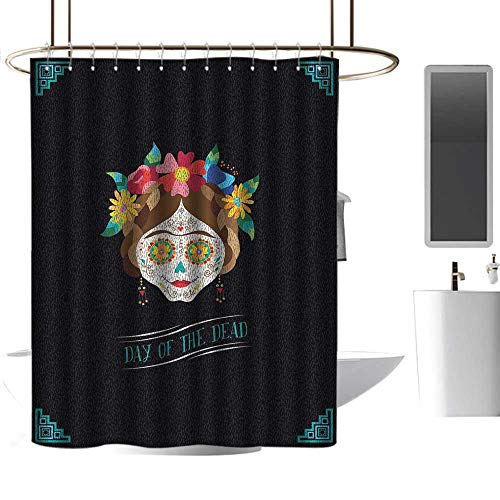 homehot Shower Curtains for Bathroom Day of The Dead,Hispanic Holiday La Calavera de la Catrina Inspired Hairstyle and Make Up,Multicolor,W48 x L72,Shower Curtain for clawfoot -