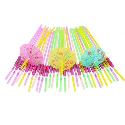 Blulu 50 Pieces Umbrella Disposable Bendable Drinking Straws for Luau Parties, Bars, Restaurants -