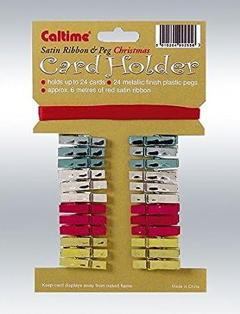 Xmasbirthday Card Holder Satin Ribbon Pegs Holds 24 Cards