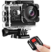 WIFI Sports Action Camera, Qipexeii 1080P FHD Waterproof 12MP 2 inch Screen With 2.4G Remote Control ,19 Mounting Kits, 2 Pcs 1050mAh Rechargeable Batteries and Portable Package
