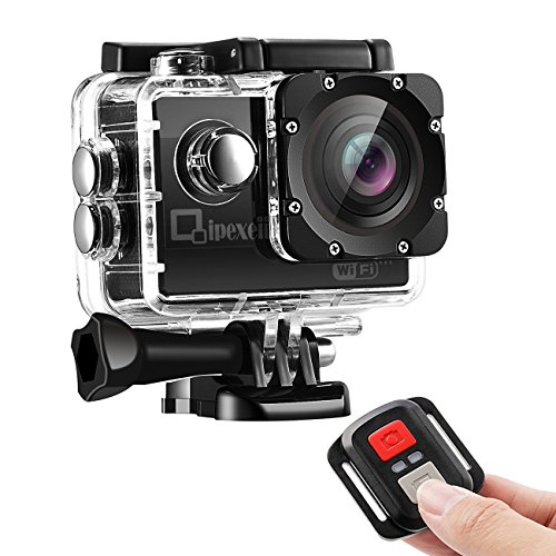 WIFI-Sports-Action-Camera-Qipexeii-1080P-FHD-Waterproof-12MP-2-inch-Screen-With-24G-Remote-Control-19-Mounting-Kits-2-Pcs-1050mAh-Rechargeable-Batteries-and-Portable-Package