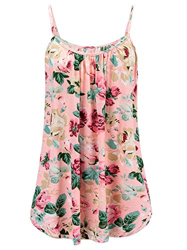 Cardigan & Floral Print Skirt - 7th Element Womens Plus Size Cami Basic Camisole Tank Top (Floral Print - Pink,4XL)