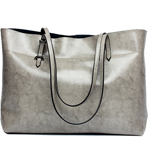 Grey Soft Leather (Covelin Women's Handbag Genuine Leather Tote Shoulder Bags Soft Hot Grey)