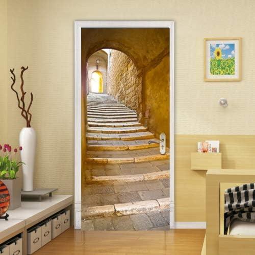 FLFK 3D Patrón de Escalera de túnel Adhesivo Vinilos Puerta Pegatina Pared Murales para Cocina Sala de Baño Decorativos 77X200cm: Amazon.es: Hogar