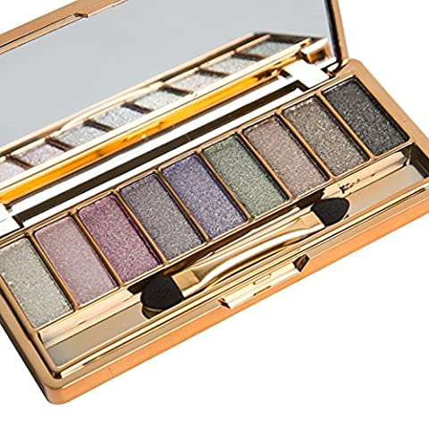 Eyeshadow, Emubody 9 Colors Shimmer Eyeshadow Eye Shadow Palette & Makeup Cosmetic Brush Set - 9 Junior Liquid