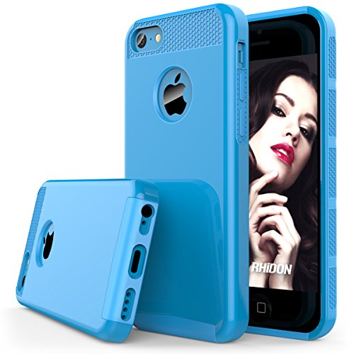 iPhone 5C Case , Rhidon Slim Shockproof Armor Case fit for iPhone 5C Hard Rugged Ultra Protective Back Rubber Cover with Dual Layer Impact Protection for iPhone 5C (Blue)