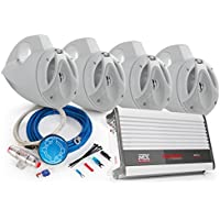 MTX TOWERPKG1 4-Channel Marine Amplifier and 4 Tower Speakers (WHITE)