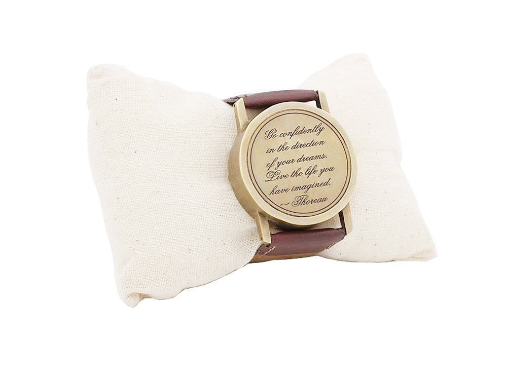Gifts Ideas for Men Wrist Watch Sundial Cuff with Thoreau's Go Confidently Quote