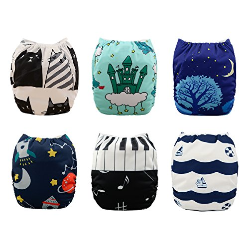 Babygoal Pocket Cloth Diapers Adjustable Reusable Baby Boy Clothes 6pcs cloth diapers+ 6 Inserts+4pcs Bamboo Inserts 6YDB05