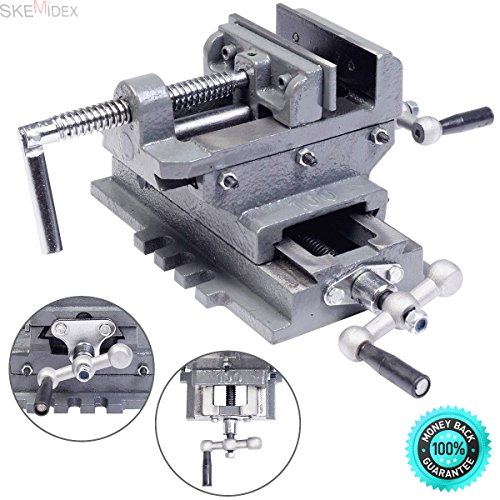"""SKEMiDEX---4"""" Machinist Cross slide drill press vise. For exact centering and acurate drilling Cross - slide design provides two-axis precision adjustment for perfect by SKEMiDEX"""