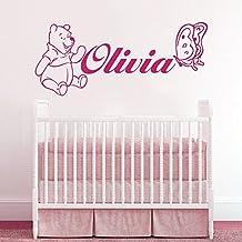 Wall Decals Personalized Name Winnie the Pooh Vinyl Sticker Decal Custom Name Girls Boys Initial Monogram Children Baby Decor Nursery Kids Room Bedroom Art NS810