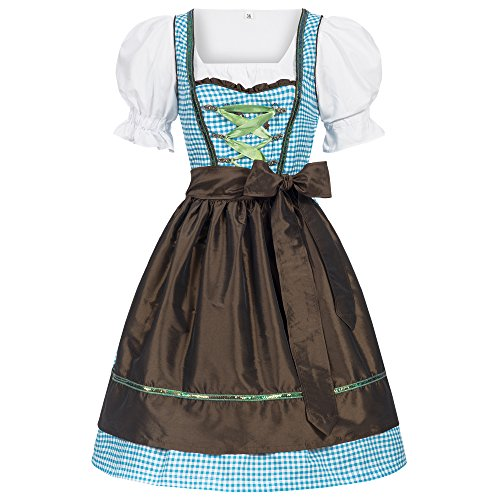 Gaudi-leathers Women's Set-3 Dirndl Pieces lightblue checkered with brown apron -