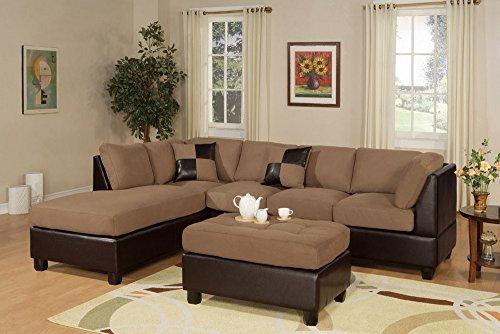 Bobkona Hungtinton Microfiber Faux Leather 3 Piece Sectional Sofa Set  Saddle