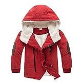 Boys Winter Fleece Jacket Coat Kids Warm Thicken Hoodies Outwear Overcoat Oblique Zipper Orange 110