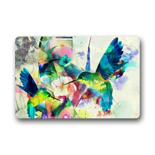 Colorful Bird Hummingbird Flower Rug