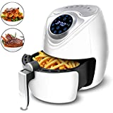 Air Fryer - Yakuin Multi-function Electric Air Fryer with Digital Touch Screen Control, Non-Stick Oilless Fryer with Temperature and Time Settings, 7 Cooking Presets, 2.8Qt 1300W, White