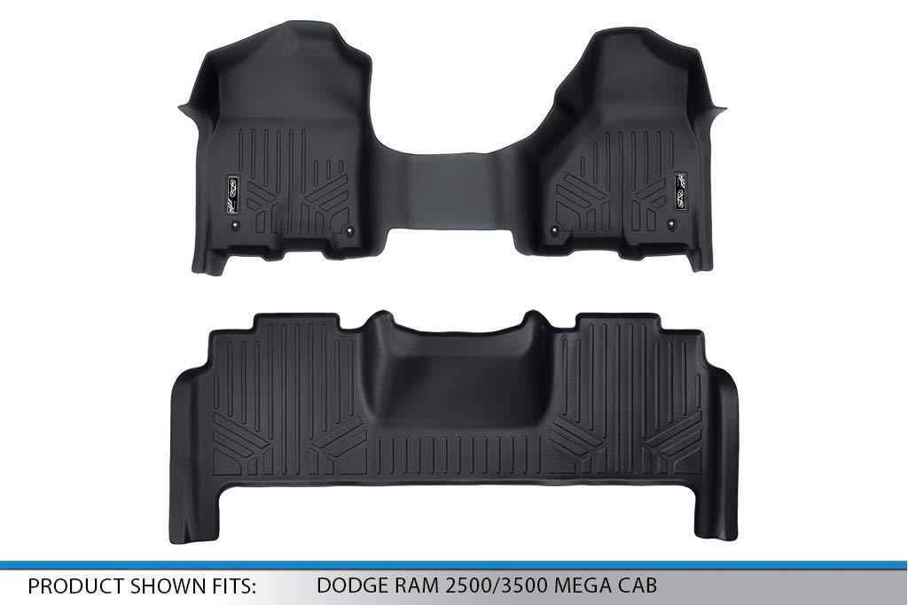 2012-2017 2 Row Set MAXLINER Black MAX LINER A0231//B0305 MAXFLOORMAT Floor Mats with One Piece Front Dodge RAM Mega Cab