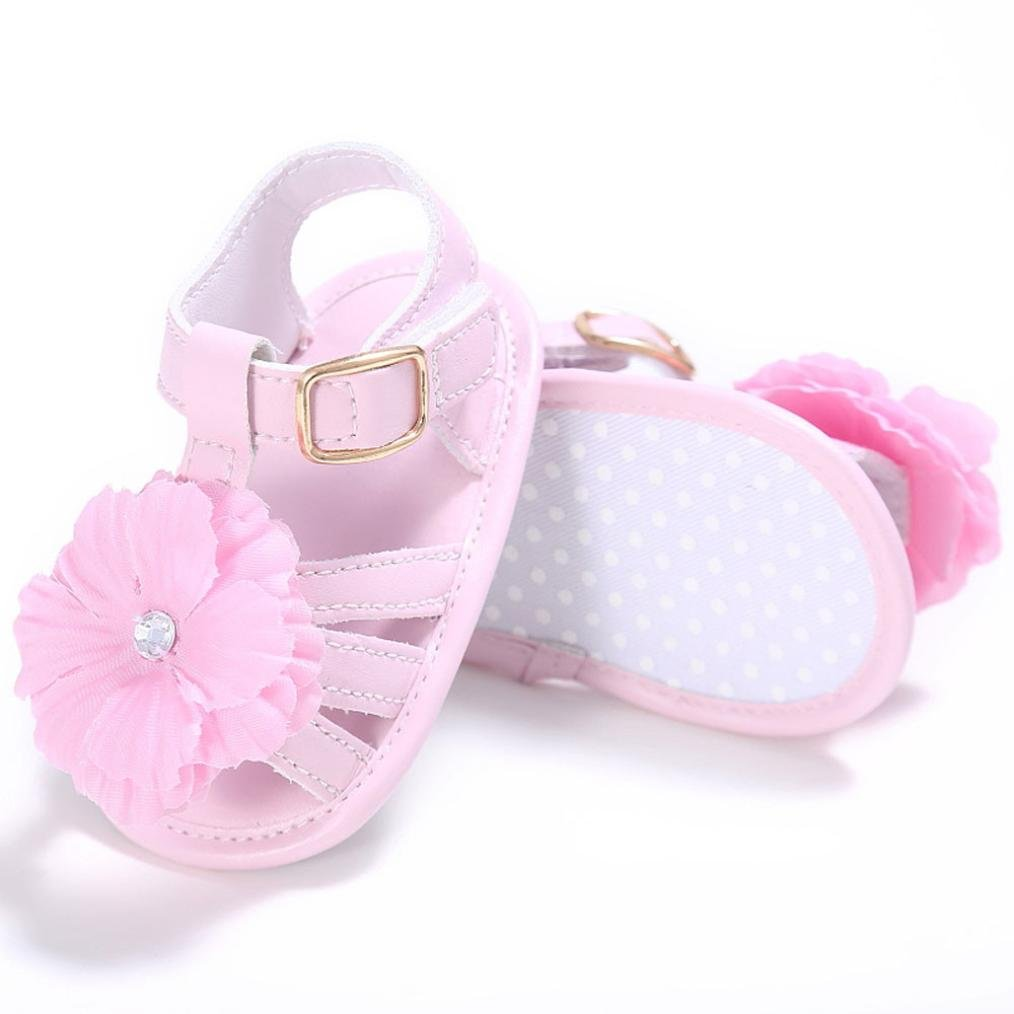 Zolimx Toddler Newborn Crib Shoes Prewalker Sandals Girl Anti Slip Flowers Pearl Princess Baby Shoes