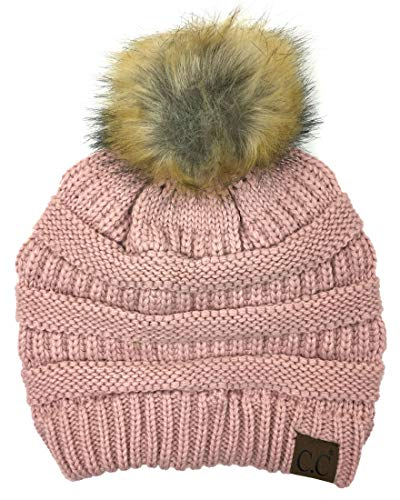 - Soft Stretch Cable Knit Ribbed Faux Fur Pom Pom Beanie Hat (Rose)