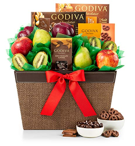 GiftTree Fresh Fruit & Godiva Chocolate Gift Basket | Includes Gourmet Chocolates and Confections from Godiva | Fresh Pears, Crisp Apples, Juicy Kiwis and Plums in a Reusable Container ()