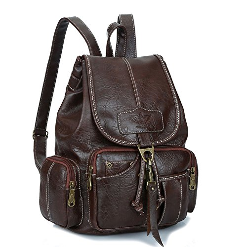 Womens New Fashion Backpack Vintage Style Waterproof Leather Backpack Purse for Girls Dark ()