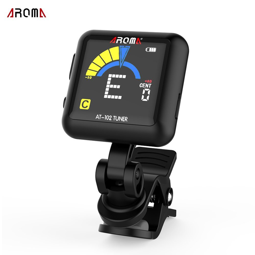 ammoon AROMA AT-102 Rechargeable Rotatable Clip-on Electronic Tuner Color Screen with Built-in Battery USB Cable for Chromatic Guitar Bass Ukulele Violin ZWR4686579002415ZM