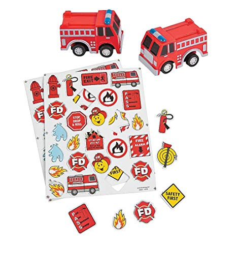 Fun Express 300 Firefighter Fireman Fire Safety Self-Adhesive Foam Shapes with Fire Truck Firetruck Engine Pullbacks Toy - 12 pieces Bundle