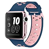 Band for Apple Watch 42mm, Alritz [Patent Pending] Silicone Sport Strap Replacement Wristband Bracelet for Apple Watch Nike+, Series 2, Series 1, Sport, Edition, Midnight Blue & Pink